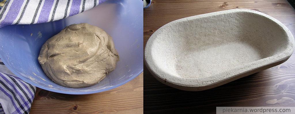 Ciasto żytnie po odpoczynku i koszyk do wyrastania ciasta