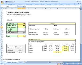 Arkusz hydracja.xls do obliczania ilości wody w przepisie